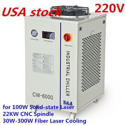 US S&A CW-6000BN Industrial Water Chiller for 100W Solid-state Laser, 220V /60Hz