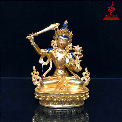 "9"" China Tibetan old copper gilt Buddhism hold sword Bodhisattva Manjusri statue"