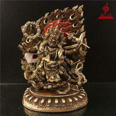 "9"" China Tibetan old copper gilt silver Buddhism Six arm Mahakala Buddha statue"