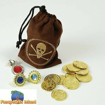 PIRATE COINS & JEWELLERY BUCCANEER GOONIES - fancy dress costume accessory