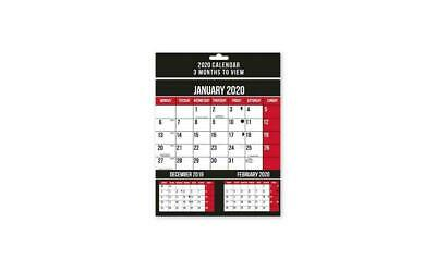 2019 New Spiral Bound Three 3 Months to View Wall Planner Calendar Home Office