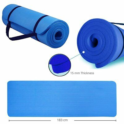 Yoga Mat 15mm Extra Thick and Carry Strap Large Non Slip Design Pilates Blue UK