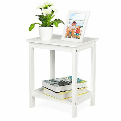 Solid Pine Wood Small Side Table Neutral Lamp Small Table 2 Tier Furniture-White