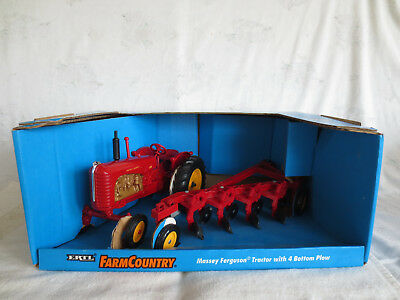 Vintage Ertl 1/16 Scale Diecast Massey Harris 555 & Plow Farm Toy Tractor Rare!!