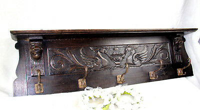 Large Black forest wood carved phenix bird Coat rack lion heads 1920