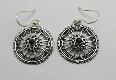 Silver Earrings Natural Gem Stone Black Stone  Ethnic Antique Earring 1 Pair