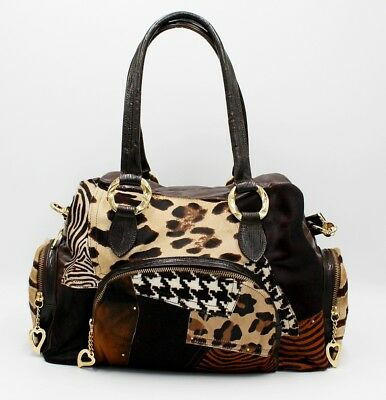 fe2120e7f4 Bruno Amaranti Borsa Cavallino Mosaico/bag Pony Patchwork Brown Leather