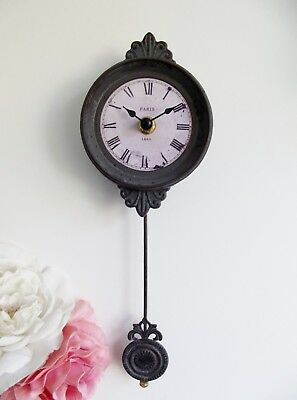 GORGEOUS! Shabby Chic French Grey Small Pendulum Wall Clock Vintage Style - 2ND