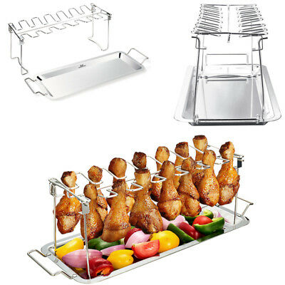 Chicken Wing & Leg Rack For Grill Holder with Drip Pan For Cooking In BBQ Juices