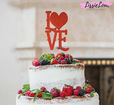 LissieLou Love with Heart Cake Topper Valentine's Glitter Card Made in the UK