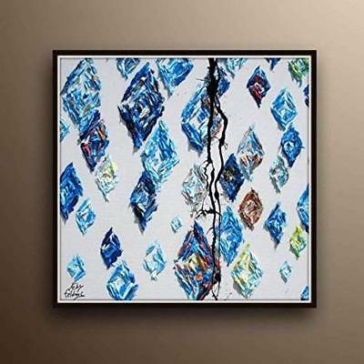 "Abstract Painting 35"" oil painting of blue Diamonds, thick oil layers, handmade"