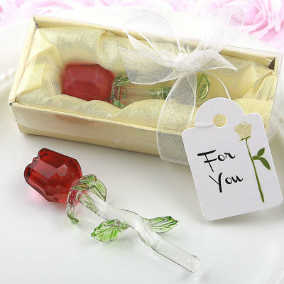Crystal Glass Red Rose Wife Girlfriend Anniversary Fiancee Romantic Gift Idea