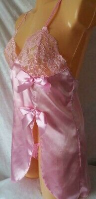 Pink Babydoll Thong Set Night Wear Dress Silky Chemise Sexy Nightie Uk 10 Bnwt