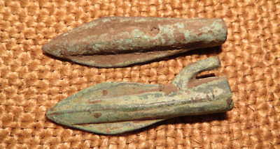 Scythian- Sarmatia Bronze 2 pcs.Old Original Ancient Barbed Arrowhea 7-4 BC #10