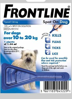 Frontline Spot On Flea For Medium Dogs 10-20kg Pipettes AVM-GSL (Exp:11/2020)