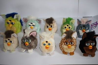 Rare lot of 8 vintage Furby Buddies soft toy beanbag plush & 2 Tiger Electronics