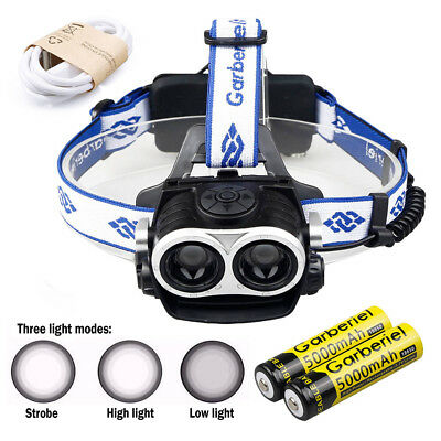 120000Lumens 2 x T6 Zoomable LED Headlamp USB Rechargeable 18650 Headlight