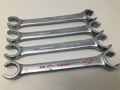 Lot Of (4) Williams 12 Point Flare Nut Open End Wrenches XFN-2836, 1 1/8 and 7/8