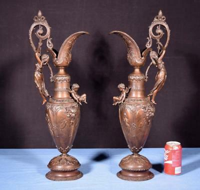 """*24"""" Pair of French Antique Bronzed Spelter Urns/Vases/Ewers with Figures"""