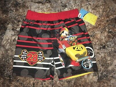 30658fe81a8f9 Disney Mickey Mouse Roadster Racers Swim Trunks With Netted Liner Boys Size  3T