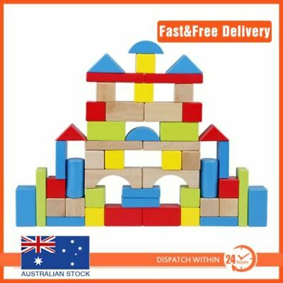 50pcs WOODEN BLOCKS Educational Child Play Learning Classic Building Shapes Toy