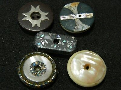 Antique Vtg LOT w MOP Pearl InLAY Composition 5 Buttons