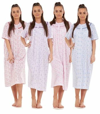 Ladies Nightwear Floral Print 100% Cotton Short Sleeve Long Nightdress Blue Pink