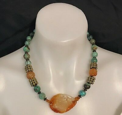 Vintage Chinese Hand Carved Necklace Carnelian Turquoise Silver Magnificent.