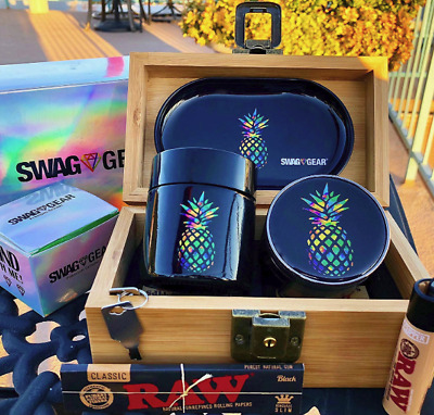 420 Smokers gift Pineapple Stash Box HERB Grinder ROLLING TRAY smell proof HIGH