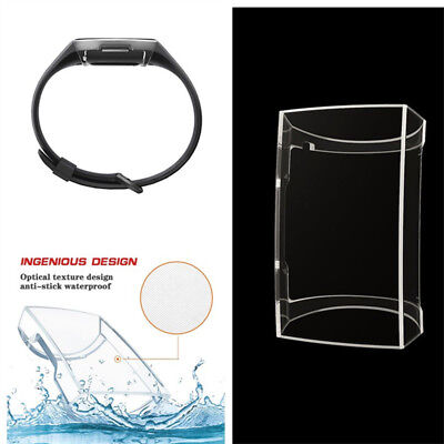 For Fitbit Charge 3 Silicone TPU Clear Shell Case Screen Protector Frame Cover