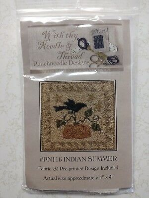With Thy Needle & Thread Punchneedle INDIAN SUMMER Pattern & FABRIC 4x4