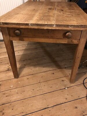 Rustic Old Pine Table With Drawer Vintage Furniture