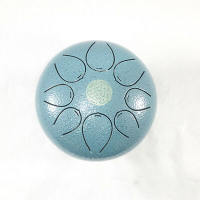 8 Notes Handpan 7 Inches Steel Tongue Drum Yoga Percussion Instrument Blue