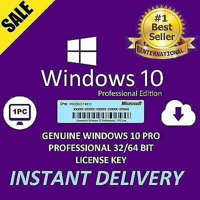 Microsoft Windows 10 Pro Key 32 64 BIT Professional License Activation Code