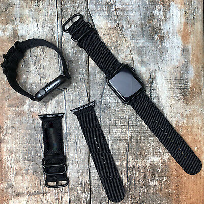 Black Nylon Strap Band Black Buckles For Apple Watch Series 4 3 2 1 42mm 44mm