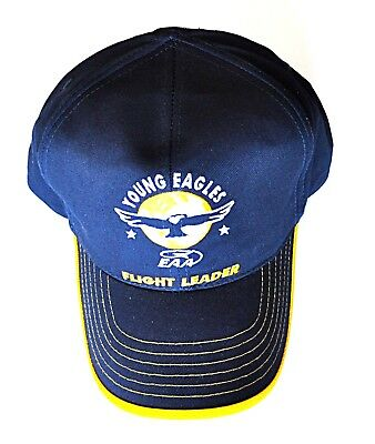 EAA Young Eagles Flight Leader Strap Back Hat Blue Adult Adjustable Metal