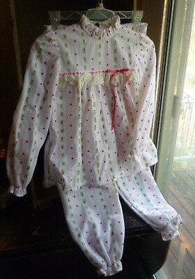 Vintage 80s Sears Girls Pajamas Set Pink Hearts Ruffles Size 8 Rare Never Worn