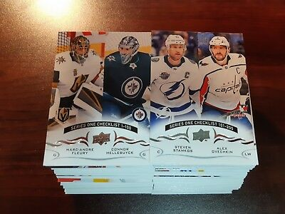 2018-19 Upper Deck Series1 Hockey Complete Base Set #1-200