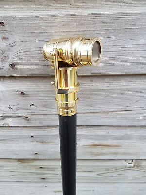 """Wooden Walking Stick Cane 38"""" long With Brass Telescope Handle Gift"""