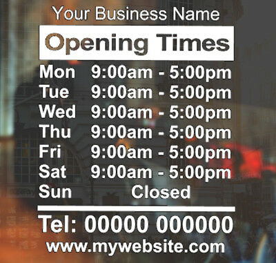 Customised Shop Window Opening Hours Times Vinyl Decal Sticker Personalised