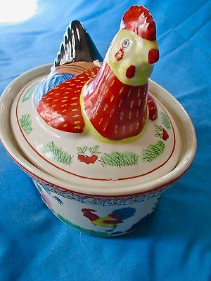 Painted Chinese Rooster Figural Lidded Ceramic Serving Tureen