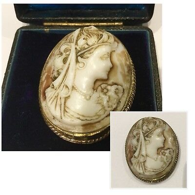 Antique Jewellery Art Deco Lady Portrait  Carved Hard-stone Cameo Brooch Pin