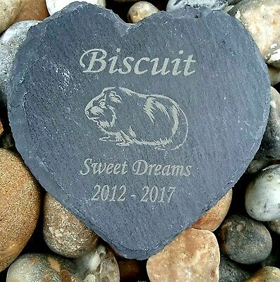 Personalised Engraved Slate Stone Heart Pet Memorial Grave Plaque guinea pig