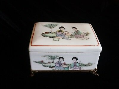 Antque Chinese Famille Rose Porcelain Box