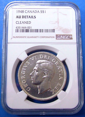 1948 AU Details NGC Certified Canadian Silver Dollar Canada $1 Coin