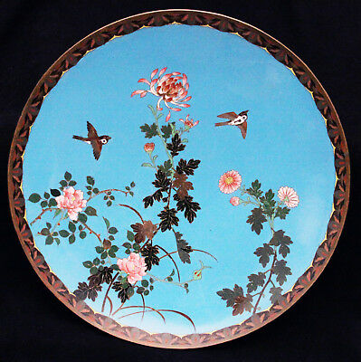 Large Antique Japanese Cloisonne Shippo Charger Bird Flowers Plate Japan Old