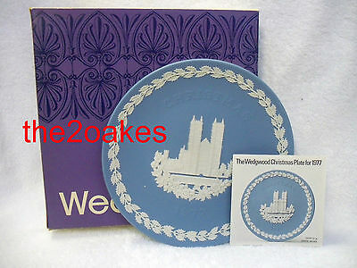 1977 Wedgwood Christmas Plate Blue Jasperware Westminster Abbey
