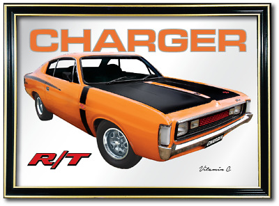 BAR MIRROR VALIANT RT CHARGER Vitamin C AUTO COLLECTABLE SIGN ART METAL