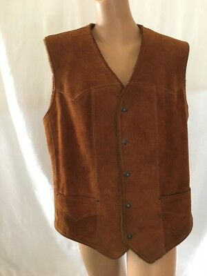 Pioneer Wear Leather Vest Mens Size 40 Tan 5 Snap Front USA Made