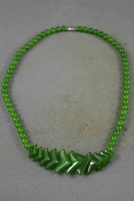 Collectable Chinese Jade Carve Fashion Bead Happiness Old Tibet Decor Necklace